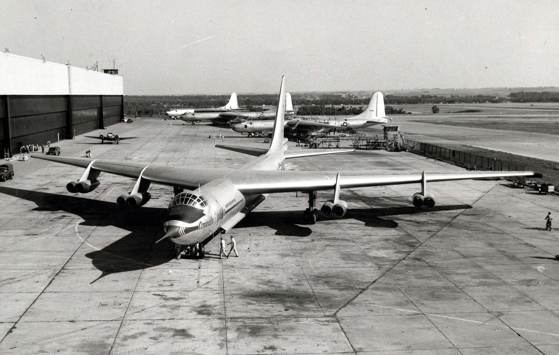 Convair YB-60 front view. Note the three B-36s in the background. (U.S. Air Force photo)